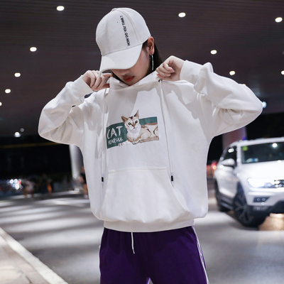运动套装女秋季2018新款两件套韩版棉宽松时尚连帽卫衣学生休闲服