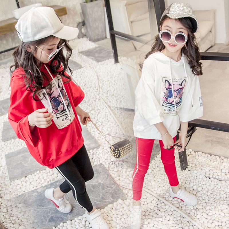 女童中大童卫衣连帽