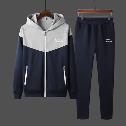 希彼男士运动开衫跑步套装韩版修身时尚大码男青年两件套加绒