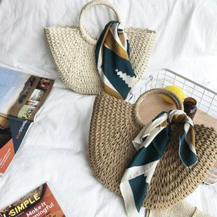 新款纯手工草编包圆斗编织包潮流手提旅游度假沙滩包饰品丝巾女包