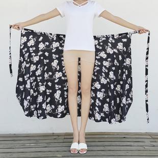 泰国度假半身裙女2019春夏新款海边沙滩裙一片式裹裙雪纺碎花长裙