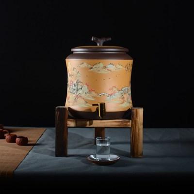 小号水缸宜兴台式龙头紫砂10升泥绘山水带陶瓷储水罐抽水家用原矿
