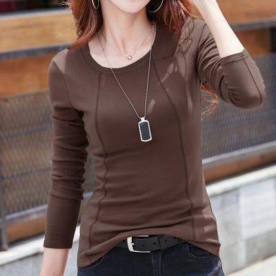 长袖t恤女春秋季纯色女士修身显瘦打底上衣纯棉韩版百搭体恤衫