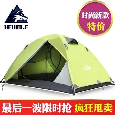 公狼正品户外装备双人双层野营自驾帐篷防大雨野营手动铝杆帐篷