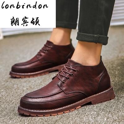 青年男士英伦潮流中帮休闲皮鞋马丁鞋夏季新款厚底工装