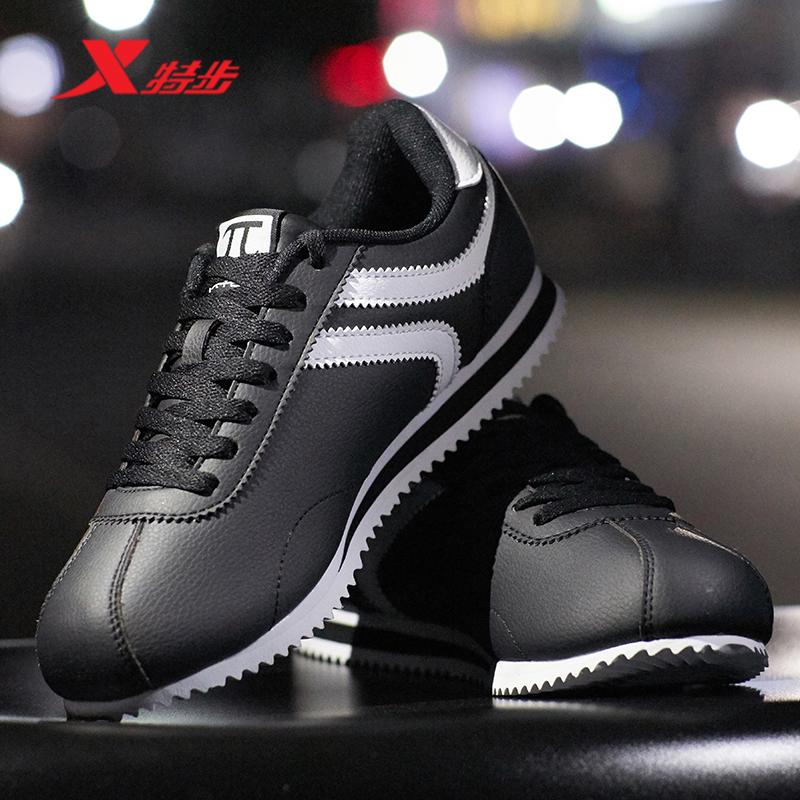 特步男鞋休闲鞋2018秋季男子轻便皮革面板鞋小白鞋运动鞋男板鞋