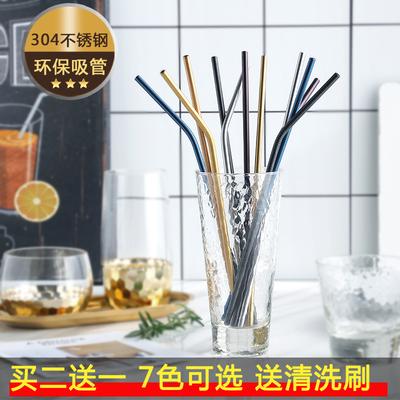 不锈钢铁吸管304环保吸管非一次性奶茶店用吸管家用铁吸管送刷子