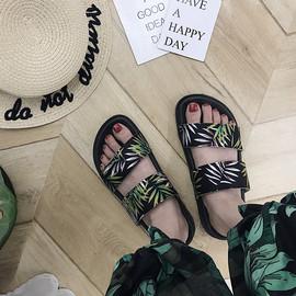 拖鞋女夏外穿2018新款时尚学生原宿ins风厚底沙滩鞋子chic凉鞋潮图片