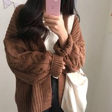 秋冬女装chic新款韩版百搭bf宽松长袖针织开衫女学生网红毛衣外套图片
