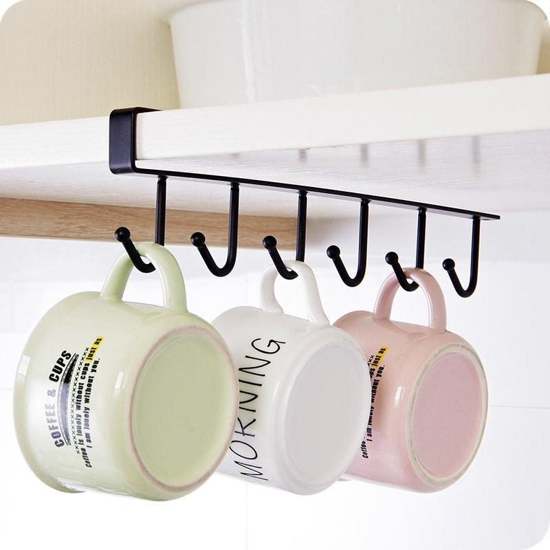 厨房铁艺无痕免钉挂钩橱柜收纳挂架多功能排钩衣柜领带围巾整理架