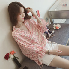 Spring and autumn women's sweet V-neck loose shirt bat sleeve striped T-shirt shirt students small fresh doll small shirt