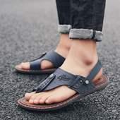 潮鞋 英伦风青少年套指休闲凉鞋 季软皮男式软底时尚 轩尧耐克泰正品
