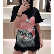 2009 New T-shirt Female 3-D Meng Cat Patterns Before and After Cat, Cat, Ohio Major Edition Star Style Loose Summer Female Fashion Short Sleeves