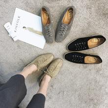 2018春秋季新款英伦风复古原宿百搭低帮女休闲鞋方头低跟系带女鞋