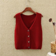 Knitted waistcoat, cardigan, short sweater, shoulder strap, sleeveless poncho, spring and autumn sweater jacket