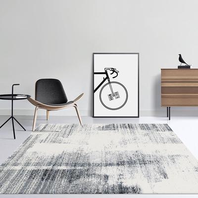 麻莫现代风格简约灰色茶几垫卧室床边北欧ins客厅抽象新中式地毯