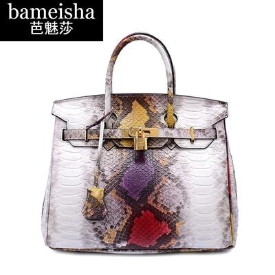 芭魅莎手提包女包夏季新款时尚牛皮欧美蛇纹铂金包手提包