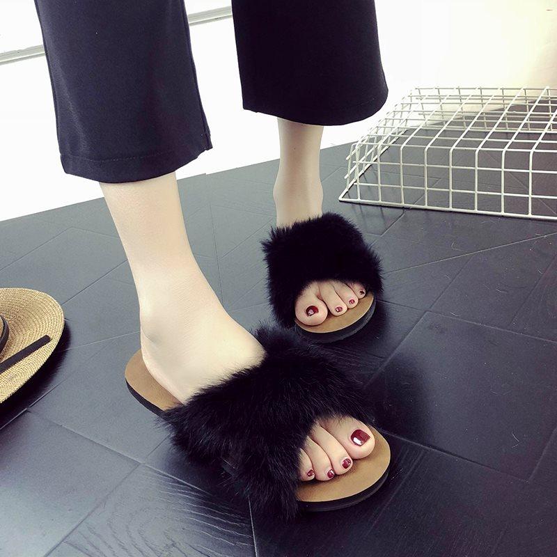 夏季交叉毛毛拖鞋女夏2018新款韩版百搭学生一字拖外穿时尚凉拖潮