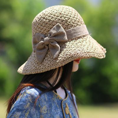 徽家原创草帽文艺复古折叠帽子女遮阳帽百搭出游小清新渔夫沙滩帽