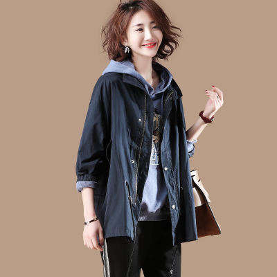 素木落肩立领中长款宽松风衣女2018春季纯色系带长袖外套女X4678