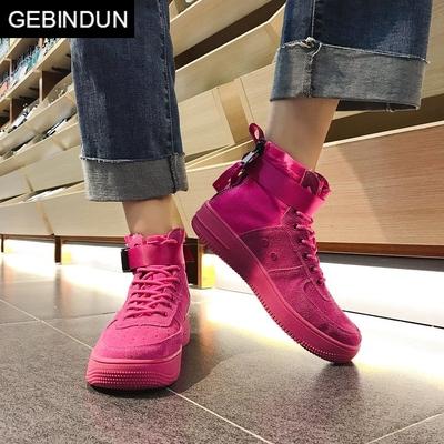 GEBINDU平底马丁靴女2018新款玫红色机车短靴夏季韩版厚底靴子短