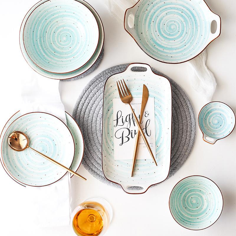 新年年货手绘风格彩绘双耳陶瓷盘子碗家用套装米饭碗汤碗面碗汤勺