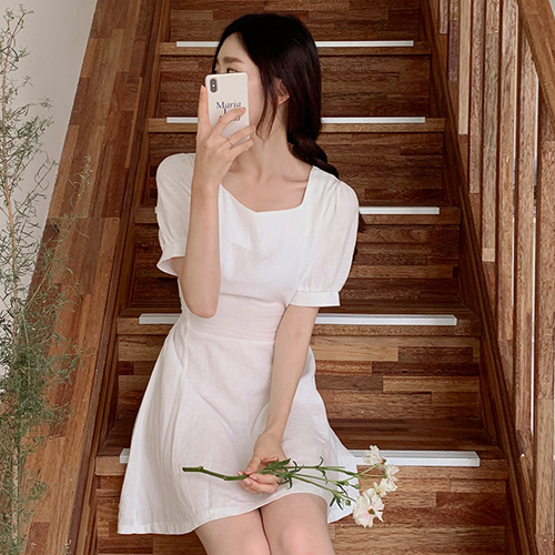 韩国代购正品 让人好心情 甜美公主系带高腰短袖连衣裙BD121蒖fe