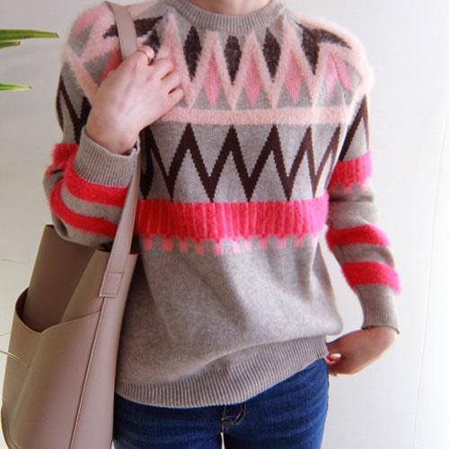 韩国代购正品 莫名喜欢 复古菱形纹芭比粉圆领针织衫冬WW096槿ln