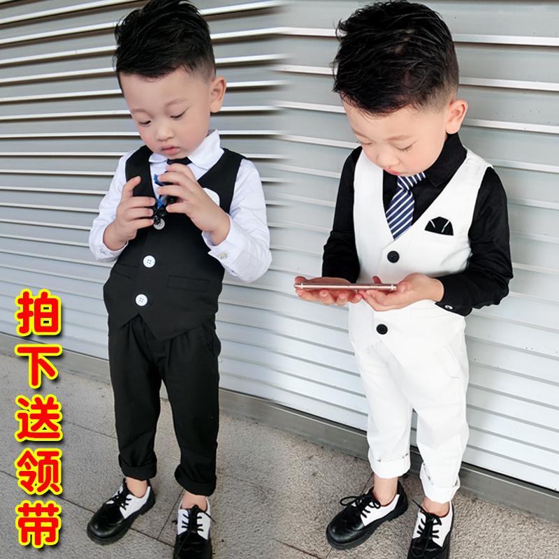 男孩小西装儿童男宝宝马甲三件套男童礼服套装2019新款春帅气西服