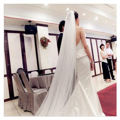 新娘头纱2018新款结婚韩式白色中长简约头纱蕾丝花朵多层头纱头饰