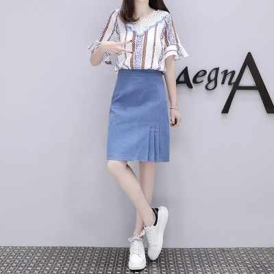 Office Workers Women Casual Dress Dresses Two-piece Skirt Summer 2018 New