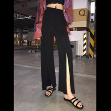 XINN Drop Sense High-waist and Broad-legged Women Summer Drop Sense Straight-barreled Korean version Black Slim Lounge Leisure Open-fork Floor Slippers