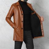 欧派盛男装中长款皮夹克加绒加厚皮衣(进口皮质)粉丝福利价