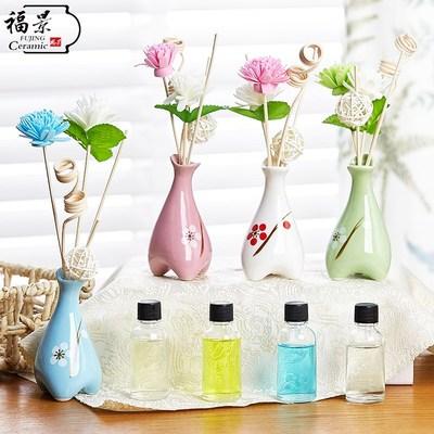 工艺品玫瑰香薰无火香薰助睡眠室内空气清新剂装饰品陶瓷花瓶精油