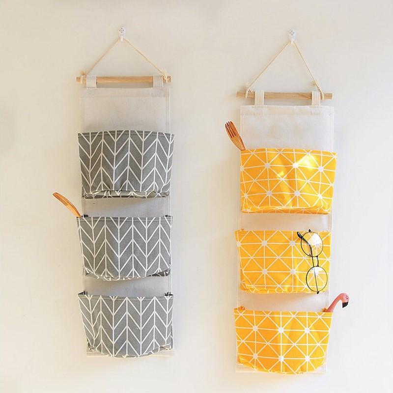 三口挂袋棉麻收纳挂袋悬挂式多层挂兜布艺门后杂物储物袋收纳袋