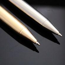 中性黄铜定制按动签字笔带笔夹金属圆柱纯铜笔不锈钢笔复古刻字