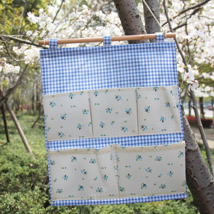 热卖日韩田园小清新棉麻5袋防水挂兜壁挂袋收纳 门旁双层储物袋