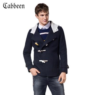 【清仓特卖】卡宾秋冬新款羊羔绒连帽呢外套男士牛角扣毛呢大衣C/