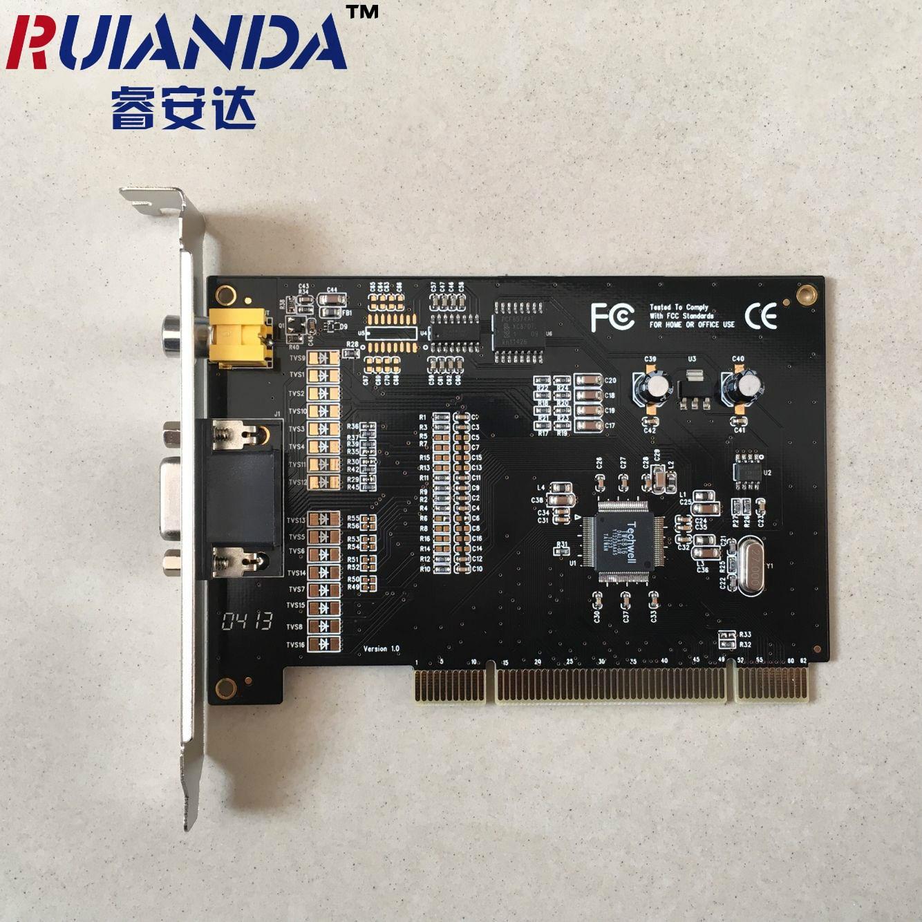 四路PCI 4路视频采集卡4路视频4路音频 高清监控卡支持WIN7