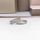 安娜同款 女礼物百搭时尚 925纯银镀金珠边戒指网红款