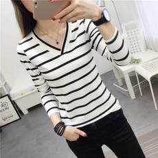 2019 Korean version of the autumn new women's summer short-sleeved striped V-neck shirt female European station foreign air loose long-sleeved T-shirt