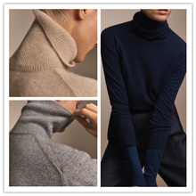 Spot Spanish M Family Women's Wear Early Autumn 2019 Pure Colour Pullover High-collar Wool Sweater MD Bottom Shirt