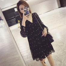 气质韩版 宽松显瘦长袖 小个子雪纺裙 连衣裙春夏2019新款 女中长款图片