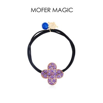 MoferMagic韩式紫色四叶草发绳女少女气质发圈扎马尾抖音同款发圈