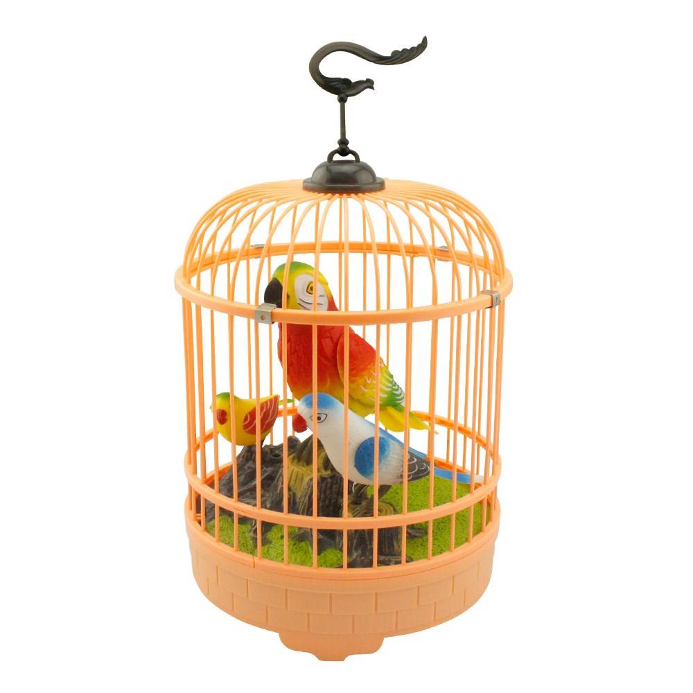 鸟笼固)�_儿童玩具电动小鸟 声控感应鸟笼 会叫会说话的鹦鹉玩具 仿真小鸟