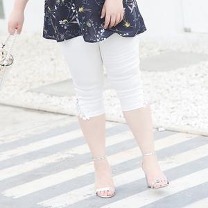 甜觅加大码女装2018胖mm夏装200斤蕾丝拼接高腰弹力七分裤打底裤