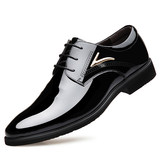 Summer patent leather men's leather shoes male pointed Korean version of the trend business dress shoes bright leather youth work shoes wedding shoes