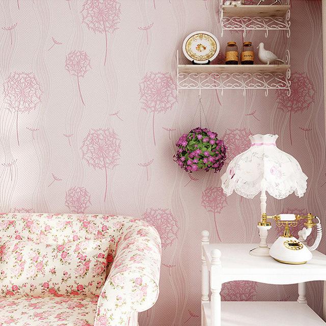 供应田园花球无纺布壁纸 3D立体蒲公英墙纸 卧室客厅背景墙壁纸