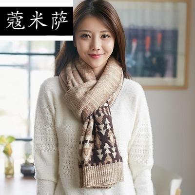 新款 围巾女韩版潮冬天毛线围巾秋冬季双层加厚针织围脖情