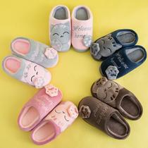 男女童拖鞋冬季全包跟情侣厚底防滑棉拖儿童室内居家用保暖毛毛鞋